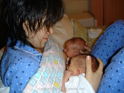 Breastfeeding newborn twins