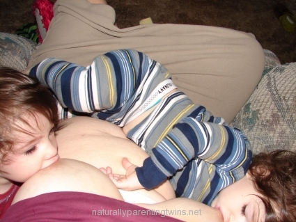 Breastfeeding toddler twins